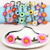 Wholesale 2015 Bohemian Headband for Women three Flowers Braided Leather Elastic Headwrap sunflower hair band Assorted Colors Hair Ornaments