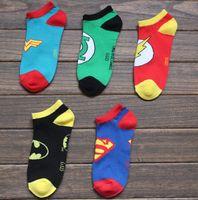 cartoon slippers - Superhero socks hosiery Sock Slippers unisex cartoon cotton ankle socks Superman batman wonder woman green lantern football sock underwear