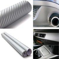 Wholesale Silver cm x60cm D Carbon Fiber Vinyl Wrap Film Car Vehicle Sticker Sheet Roll