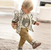 Cheap BY Free Shipping 2014 new spring baby clothes set cool boy 3 pcs suits t-shirt+shirt+pants children garment Wholesale And Retail