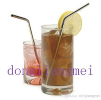 stainless steel straws - 1000pc hot sell Metal Drinking Straw Stainless Steel Bend Drinking Straw Beer and Fruit Juice Straws freeshipping Z67