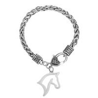 achat en gros de chaîne zingué-10pcs / lot en gros en alliage de zinc antique argent plaqué pendentif cheval pendentif bracelet en chaîne Pendentif Bracelets pour hommes / femmes