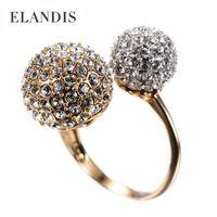 Wholesale Adjustable Big rhinestone round women rings fashion zinc alloy cubic zirconia charm rings for women jewelry BR00035