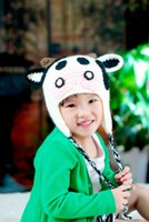Wholesale Lovely Cartoon Hat Warm Knitted Winter Cap Headwears Animal Cow Hats for Children Kids H3117