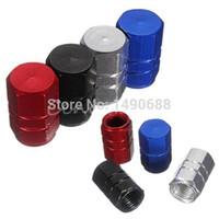 Wholesale 4pcs Aluminum Tyre Rim Valve Tire Air Port Dust Cover Stem Caps Car Truck Wheel