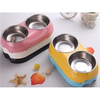 melamine dog bowl - Dog Food Double Bowl High Quality Melamine Plastic Stainless Steel Dog Double Bowl Personalised Dog Bowls Hot Sale BL004