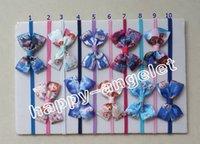 "Hair Bows Chemical Fiber Print 50pcs 2.5"" girl frozen hair accessories baby hair bows flower clip bobbles ponytails rubber Bowknot hair Ropes Elastic hairband PJ5219"