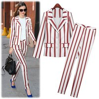 Cheap (Jacket+Trouser) 2015 Autumn Winter Women New Fashion Striped Long Sleeve Leisure Pocket Slim Two-piece Tailored Suit F341 (Free Shipping)