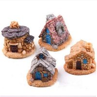 Wholesale Mini Retro Fairy Garden Resin Stone House Micro Dollhouse Flower Pot Bonsai Craft