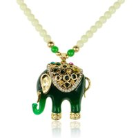 Cheap New Famous Fashion Necklaces For Women 2015 Crystal Pendant Necklace Jade Green Acrylic Beads Elephant Chain Long Necklaces