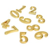 hotel lock - High quality Durable Hign Quality Screw In House Hotel Door Number Numeric Digits Plate Plaque Golden Sign Brass Home Decor order lt no