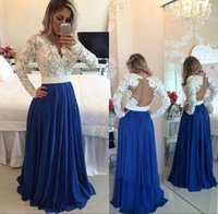 Wholesale 2016 Vintage Sheer Long Prom Party Dresses With Illusion Long Sleeves V Neck Lace Chiffon Zipper Button Formal Evening Celebrity Gowns