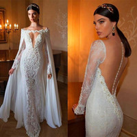 cover wedding - Mermaid Lace Wedding Gowns with Detachable Cape and Sheer Long Sleeves Sexy Low V Neck and Tulle Back with Covered Buttons