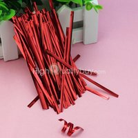 Wholesale 100 cm Metallic Twist Ties for Wrapping Cello Candy Party Gift Bags Red