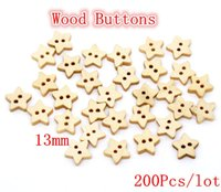 Cheap Hot Sale Button 200Pcs lot Star Shape Wood Sewing Buttons Scrapbooking 13x13mm Sewing Supplies