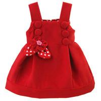 Wholesale 2016 Kids Christmas Dresses Fall Winter Girls Polka Dot Dress Woolen princess dress Children dress baby dress children girls clothes