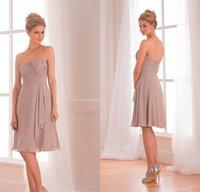 Wholesale 2015 Cheap Jasmine Vintage Pleats Sweetheart Khaki Chiffon Plus Size Short Bridesmaid Dresses A Line Junior Bridesmaid Party Gowns DL1314129