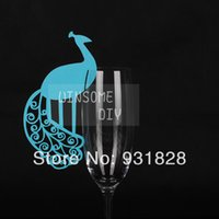 achat en gros de paon topper-Gros-bon marché Verre à vin Marqueurs Lieu Carte Escort Cards Toppers gâteau de mariage carte de visite décor de table de paon bleu