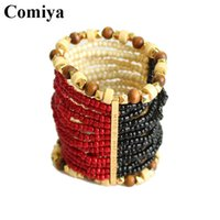 Cheap Adjustale red black wooden round bead bracelet vintage bangles ethnic nation arm bracelet handmade jewelry pulseiras femininas