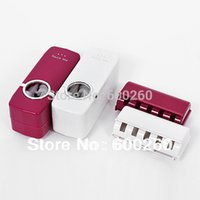 Wholesale Automatic Toothpaste Dispenser Toothbrush Holder sets toothbrush Family sets White rose red