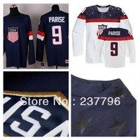 Cheap Hot Sale Custom Team USA Hockey Jersey #9 Zach Parise Jersey American 2014 Olympic Sochi Personalized Make Customized Blue White