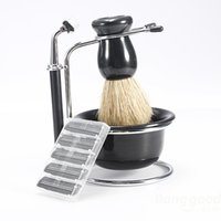 Wholesale 4 In Men Beard Clean Kits Shaving Brush Dish Stand Shave Razor Set