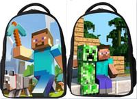 Wholesale in stock two style Minecraft Backpack Game My World Shoulder Children School Bags Boys Mochila Double Shoulder Bag Kids Schoolbag
