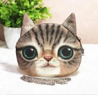 Gros-Large épaule 3D Pussy Cat Head Visage imprimé sac à main sac chaîne