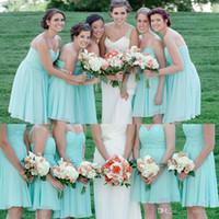Bras beach wedding dresses for guests - Cheap Short Mint Green Chiffon Bridesmaid Dress Sweetheart Knee Length A Line Custom Made Wedding Party Guest Gowns For Beach