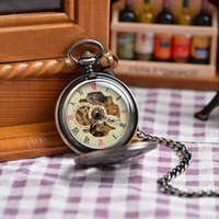 antique mens necklace pendant - Wholesales Antique Mechanival Hand Winding Pendant Watches Necklace Vine Copper Mens Mechanical Military Pocket Watch Gift
