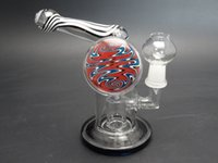 glass decor - heady colored Glass oil rigs with tyre perc and two balls decor glass vapor rigs with mm joint glass dome nail
