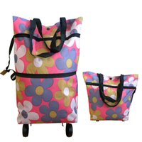Wholesale Folding shopping bag oxford D capacity extensible mall trolley shopper bag wheels carrier bag patterns available
