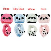 Wholesale Delicate Winter Children s Hat Scarf Set Panda Modeling Baby Hats Velvet Ear Muff Cap hot selling