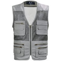 Wholesale Fall AAW kg casual cotton clothes summer middle aged men multi pocket vest photography large size thin mesh vest