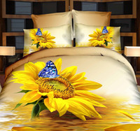Wholesale 3D Sunflower bedding set butterfly duvet cover super king size queen full double fitted bed sheets bedspread quilt bedsheet