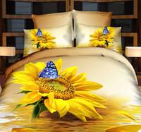 achat en gros de feuilles reine papillon-Linge de lit en 3D de tournesol housse de couette papillon super king size reine pleine doubles housses de couette couvre-lit housse de couette 5pcs