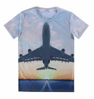 airplane tee - Mikeal Men women d t shirt funny print Dusk taking off AirPlane Graphic tshirt short sleeve tops tees A39