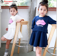 big lips costume - 2015 Autum Hot Sale Girls Casual Dress Big Lip Printed With Letter False Two Piece Dress For Kids Pacthwork Grain Children Costume CR265