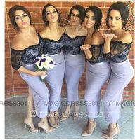 arabic tone - Elegant Two Tone Bridesmaid Dresses Lavender Maid of honor Dresses Mermaid Off Shoulder Black Lace Prom Evening Gown Party Dress Arabic