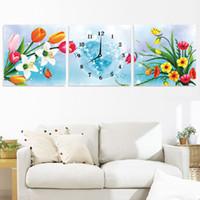 Wholesale D printing sharp stitch latest elegant living room feel large triptych painting clocks stitch flowers