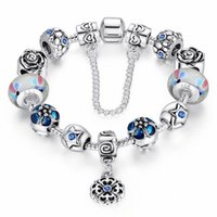beaded flower bracelet - 2016 Fashion Silver Charms Jewelry Pandor Bracelets DIY Pendant Coloured Glaze Beaded Bangles For Women Statement Christmas Gift Color
