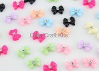 Other Lucite, Plastic  200pcs mixed colors bow w  crystal center Cabochons (11mm) Cell phone decor, hair accessory supply, embellishment, DIY