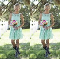 black and white bridesmaid dress - 2016 Country Mint Green Lace Short Mini Bridesmaid Dresses Formal Dress For Junior And Adult Bridesmaid Knee length Wedding Party Dresses