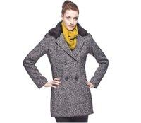 Wholesale week end2014 new autumn and winter women s gray woolen coat fur collar Slim split straight woolen coat