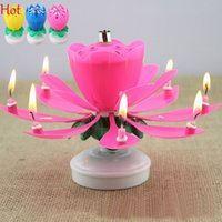 Wholesale Beautiful Music Blossom Lotus Candles Flower Candle Birthday Party Music Sparkle Rotating Candles Romantic Creative Gifts Colors SV016362