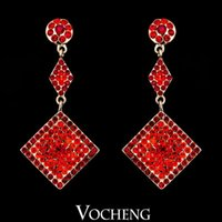 Wholesale Red Three Kinds Of Combination Of The Shape Bronze Austrian Crystal New Long Drop Earrings Ve Vocheng Jewelry