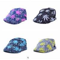 Wholesale 60PCS LJJH791 Fashion Denim Mens Women Maple Leaf Vintage Beret Cap Cabbie Newsboy leaf Flat Hat Golf Driving Berets