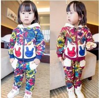 Wholesale Children Outfits New Heavy Track Suits Girls Casual Outfits Kids Cartoon Floral Hooded Set Jacket with Pants Suits