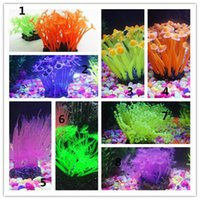 Wholesale Sea Plant Aquarium Fish Tank colors Silicone Sea Anemone Ornamen Emulational Sea Plant Anemone Coral Ornament Decor For Aquarium Fish Tank