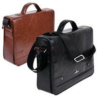 Wholesale 2014 Fashion Men s Synthetic Leather Shoulder Messenger Briefcase Bag Handbag High Quality Black Coffee